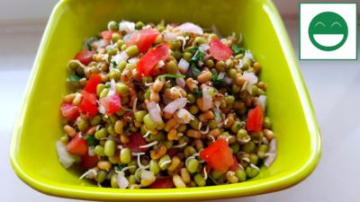 Easy Sprouts Salad Recipe, Moong Matki Salad