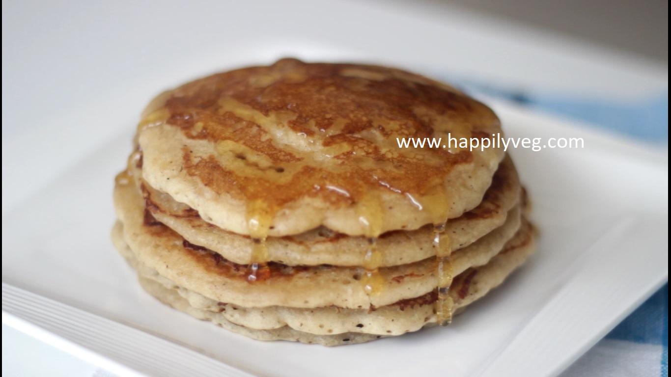 Eggless Pancakes Recipe, How to make Eggless Pancakes